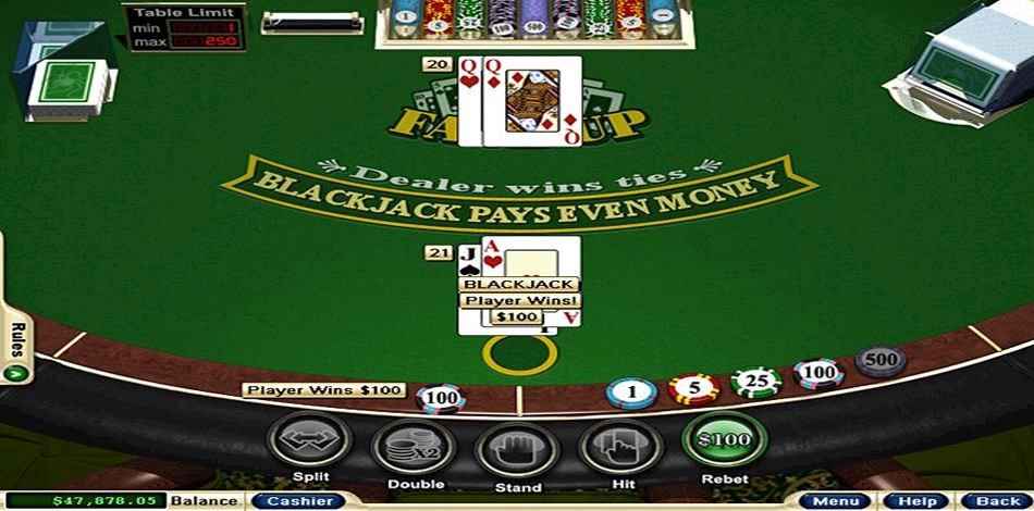 Player winning Blackjack hand at All Star Slots online casino