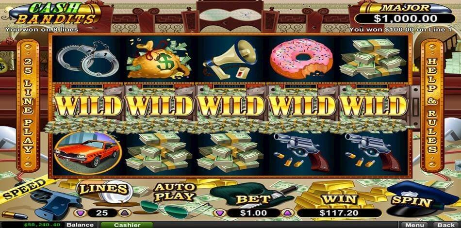 Game screen of Cash Bandits Video Slot Game