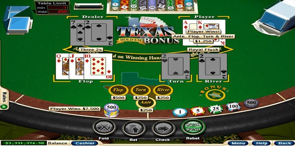 Playing a game of Texas Hold'em Bonus Poker at All Star Slots