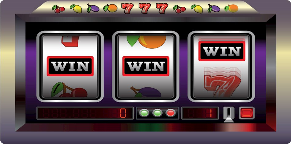 Winning line on a three reel slot machine